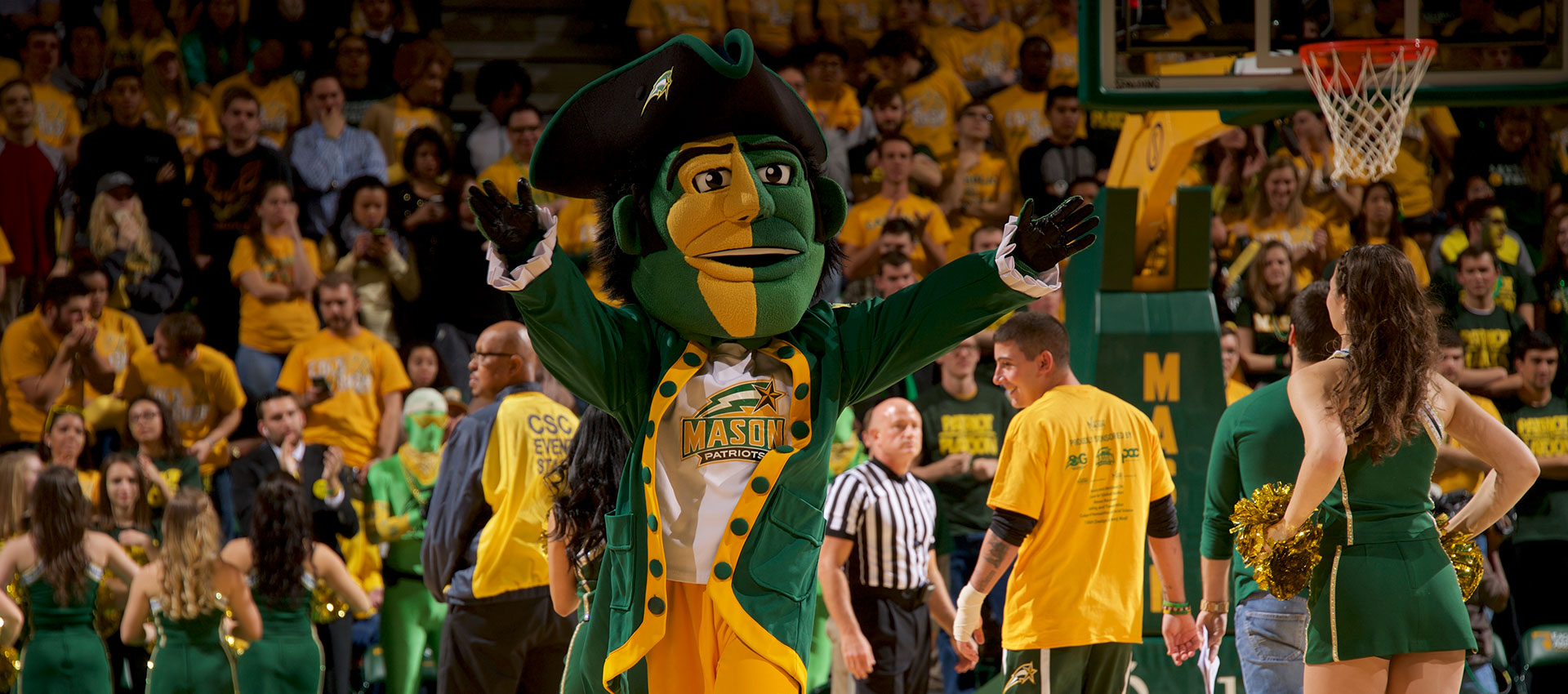 George Mason fans mascot on homepage