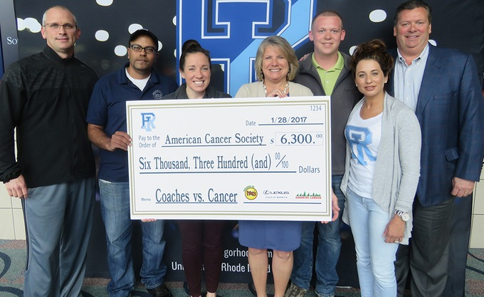 RHODY ATHLETICS, CORPORATE PARTNERS MAKE DONATION TO AMERICAN CANCER SOCIETY